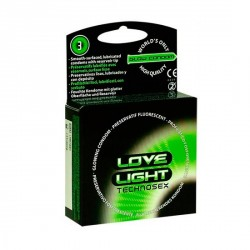 PRESERVATIVOS FLUORESCENTES 3 UDS. DE LOVE LIGHT TECHNOSEX