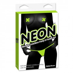 TANGA VIBRADOR Y PASTIES COLORES NEON DE PIPEDREAM COLOR VERDE