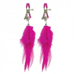 PINZAS PARA PEZONES FETISH FANTASY CON PLUMAS COLOR ROSA DE PIPEDREAM